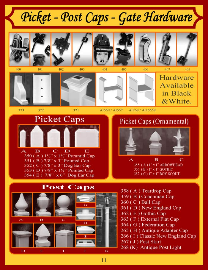 Vinyl Fence Brochure Page 11 - Hardware