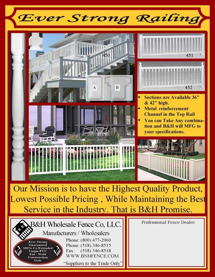 Vinyl Fence Brochure Back Cover - Railings