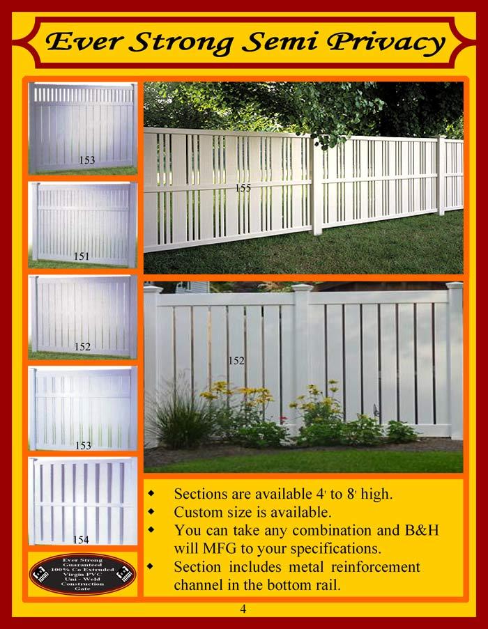 Vinyl Fence Brochure Page 4 Semi Privacy Fencing