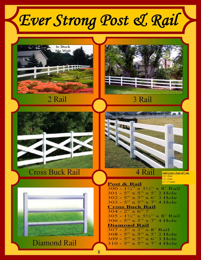 Vinyl Fence Brochure Page 8 - Post & Rail Fencing