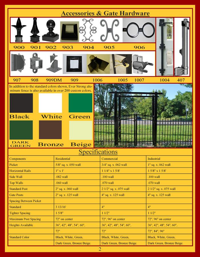 Ornamental Aluminum Fencing Brochure Page 2