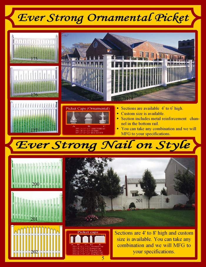 Vinyl Fence Brochure Page 5 - Ornamental Picket Fencing