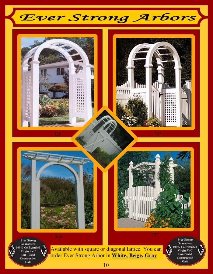 Vinyl Fence Brochure Page 10 - Arbors
