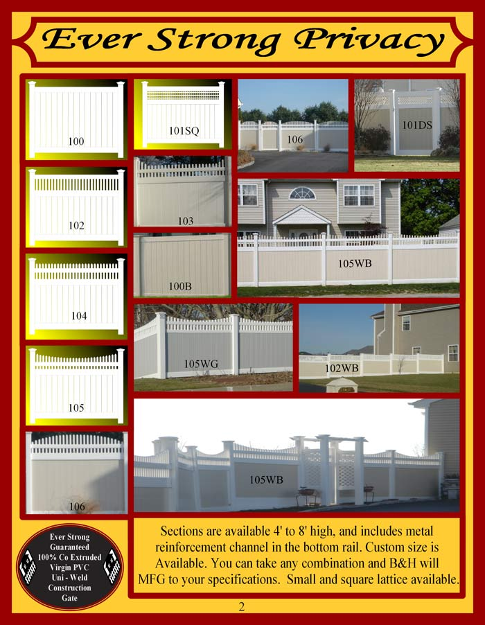 Vinyl Fence Brochure Page 2 - Privacy Fencing