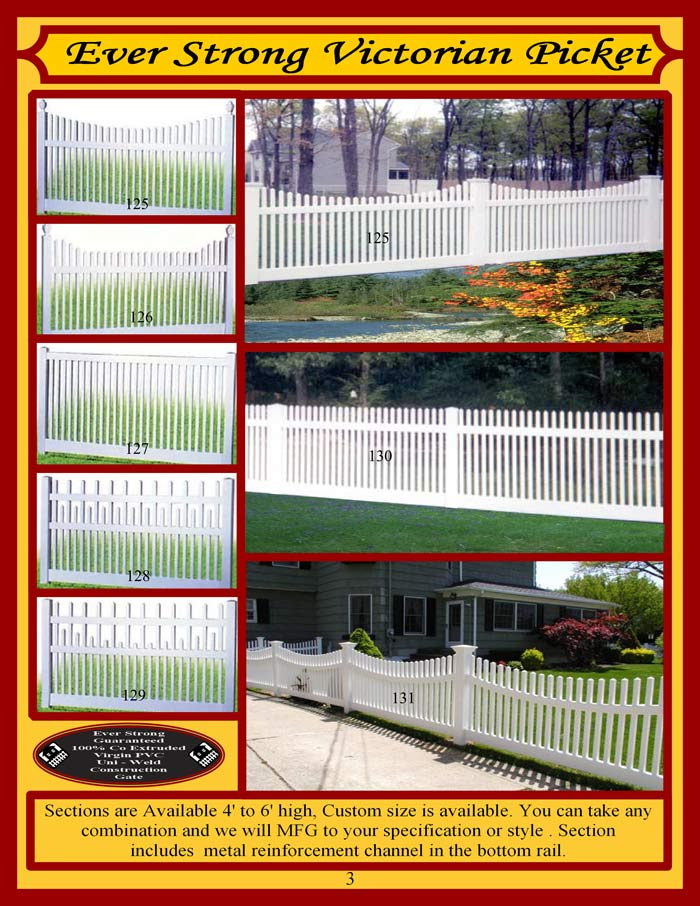 Vinyl Fence Brochure Page 3 - Picket Fencing