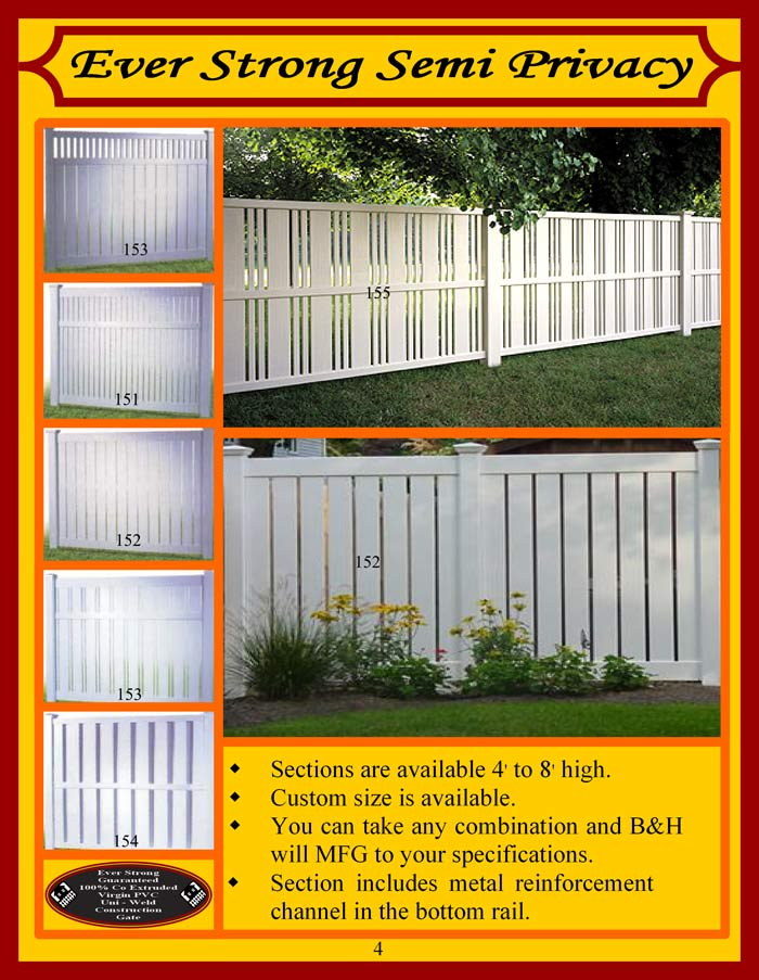 Vinyl Fence Brochure Page 4 - Semi-Privacy Fencing