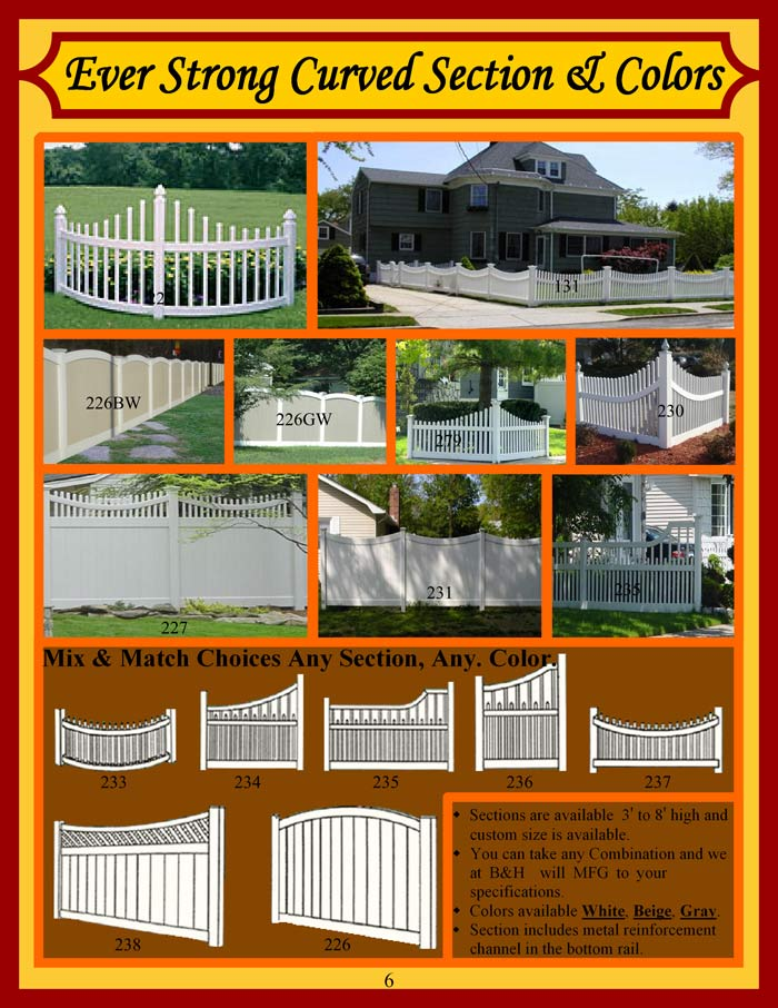 Vinyl Fence Brochure Page 6 - Curved Panels