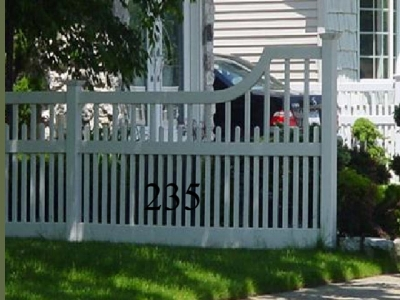 Vinyl Picket Fence Curved Top Transition Panel Model 235