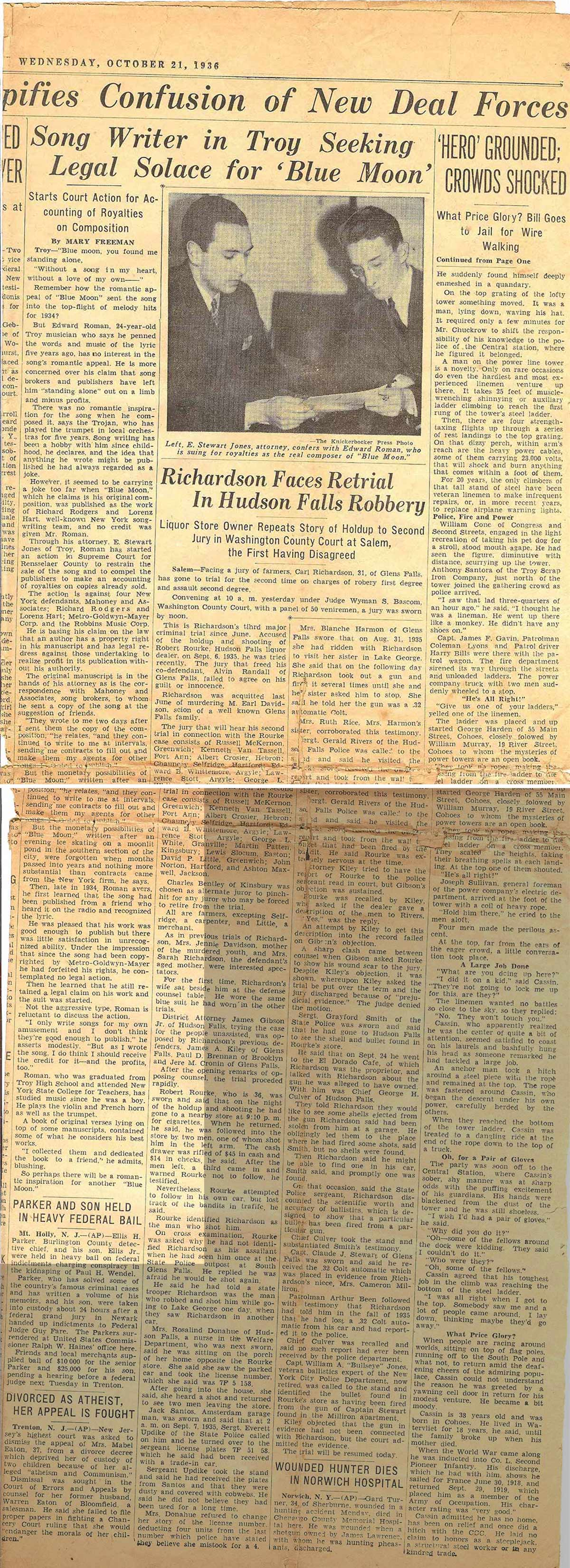 This is a copy of  a news article published on October 21, 1936 in the Knickerbocker News about a lawsuit brought forward by Edward W. Roman claiming copyright infringement by Richars Rodgers & Lorenz Hart for the song