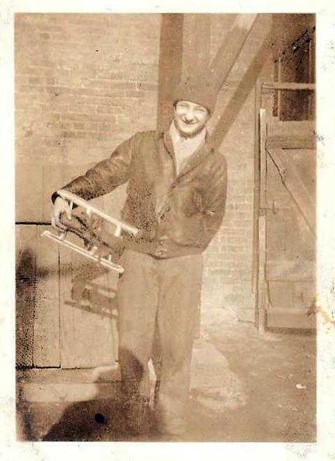 Photo of Edward W. Roman with his ice skates