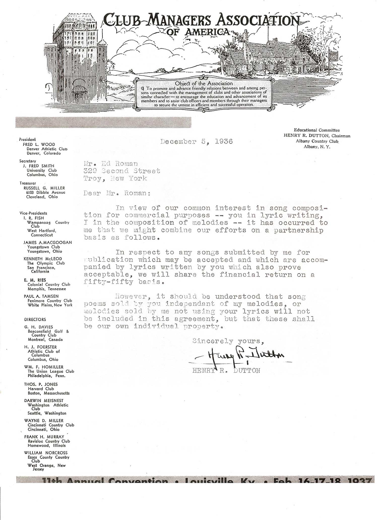 Henry R. Dutton Club Letter
