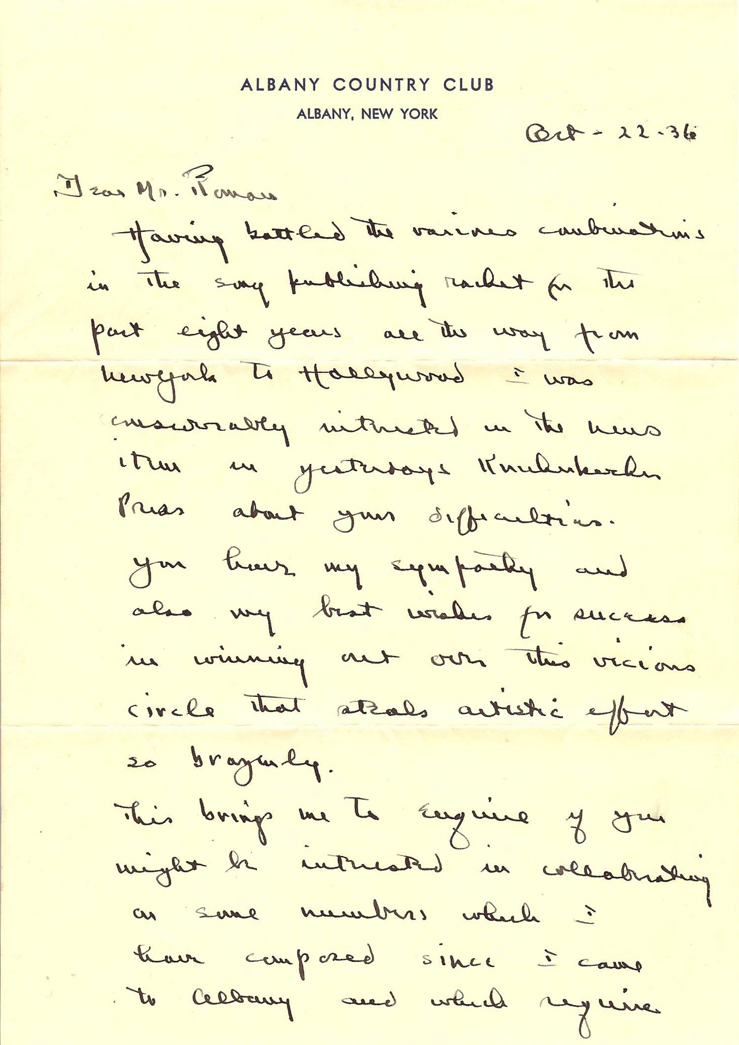 Henry R. Dutton Letter Page 1