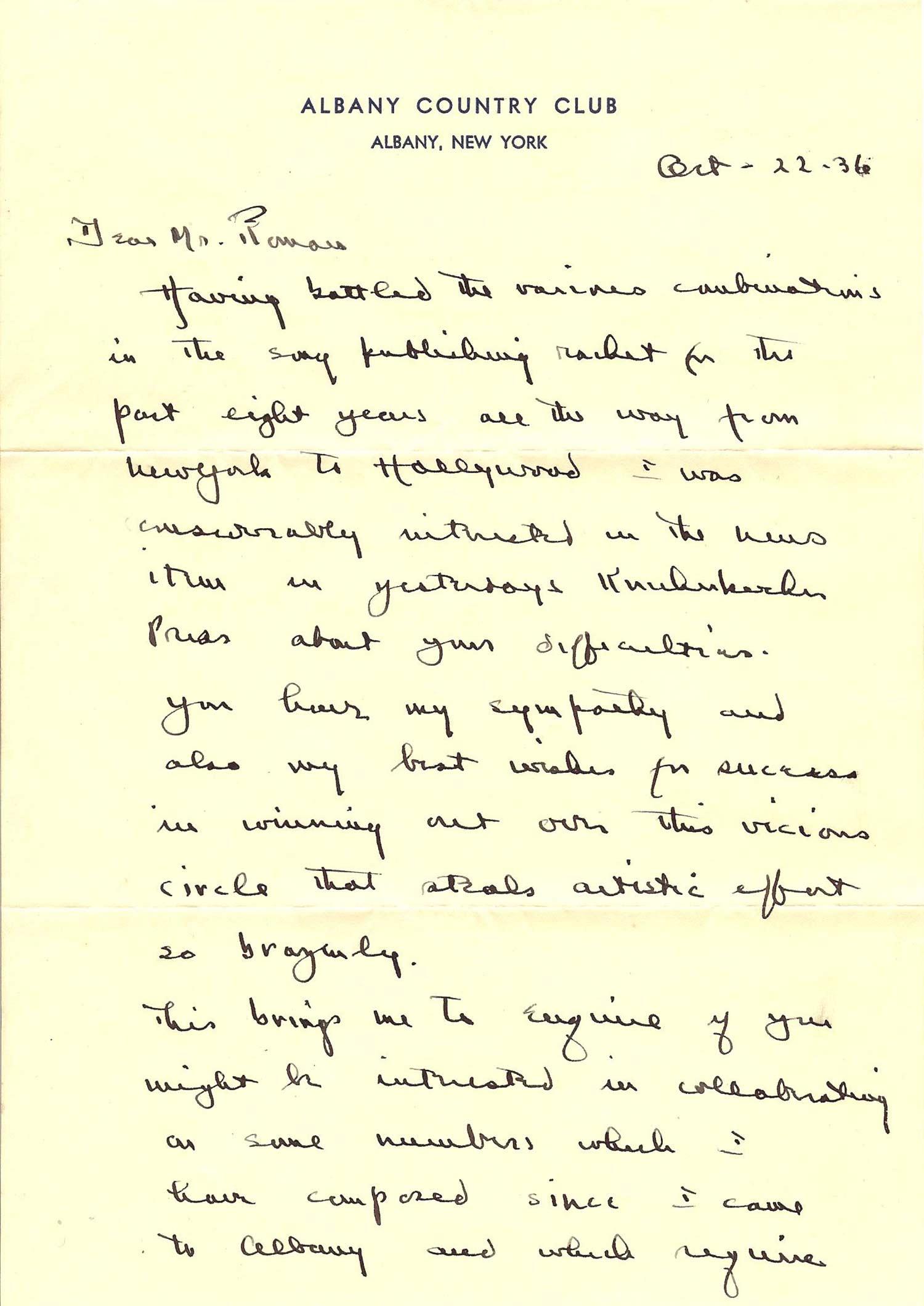 Henry R. Dutton Letter Page 1