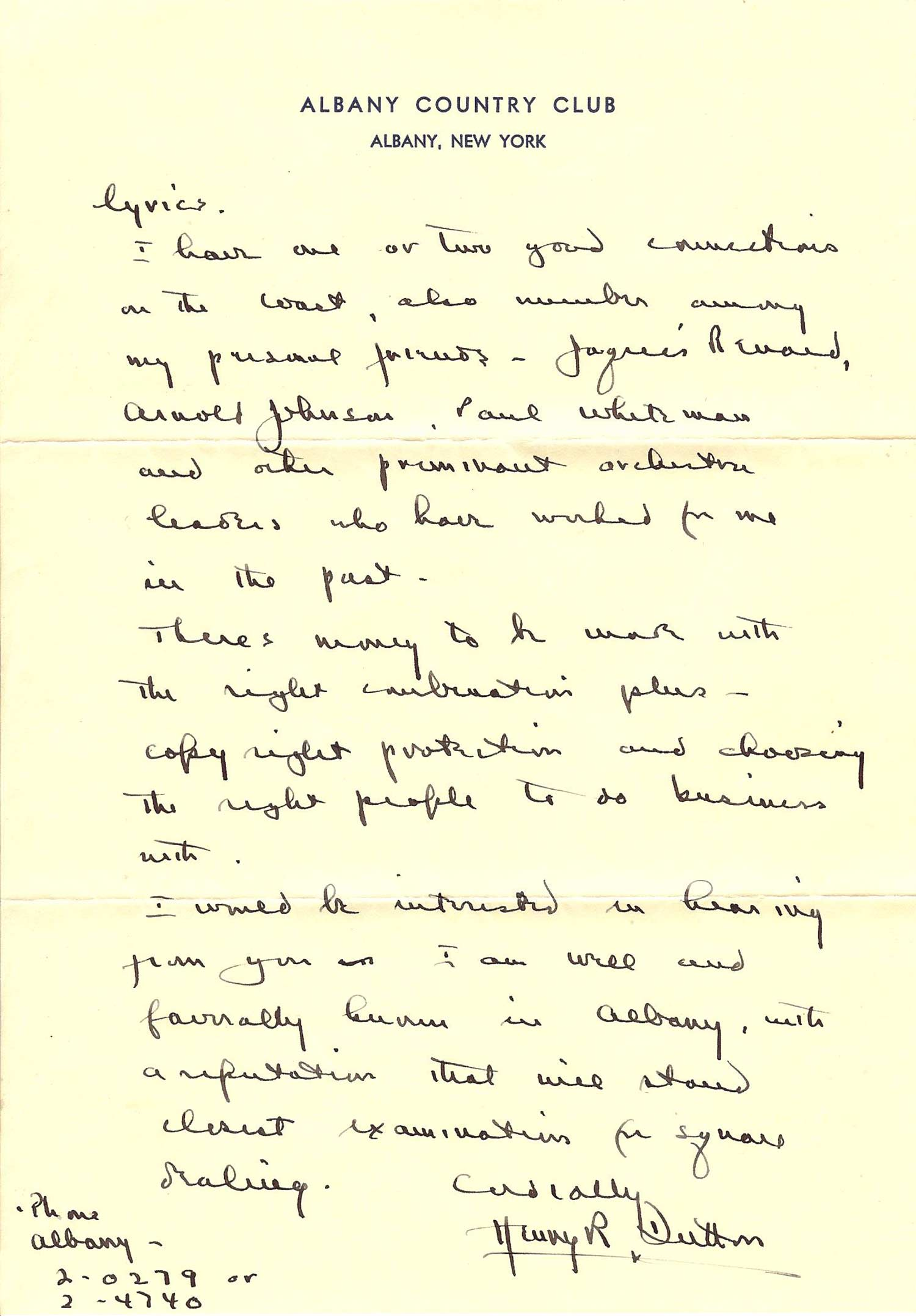 Henry R. Dutton Letter Page 2