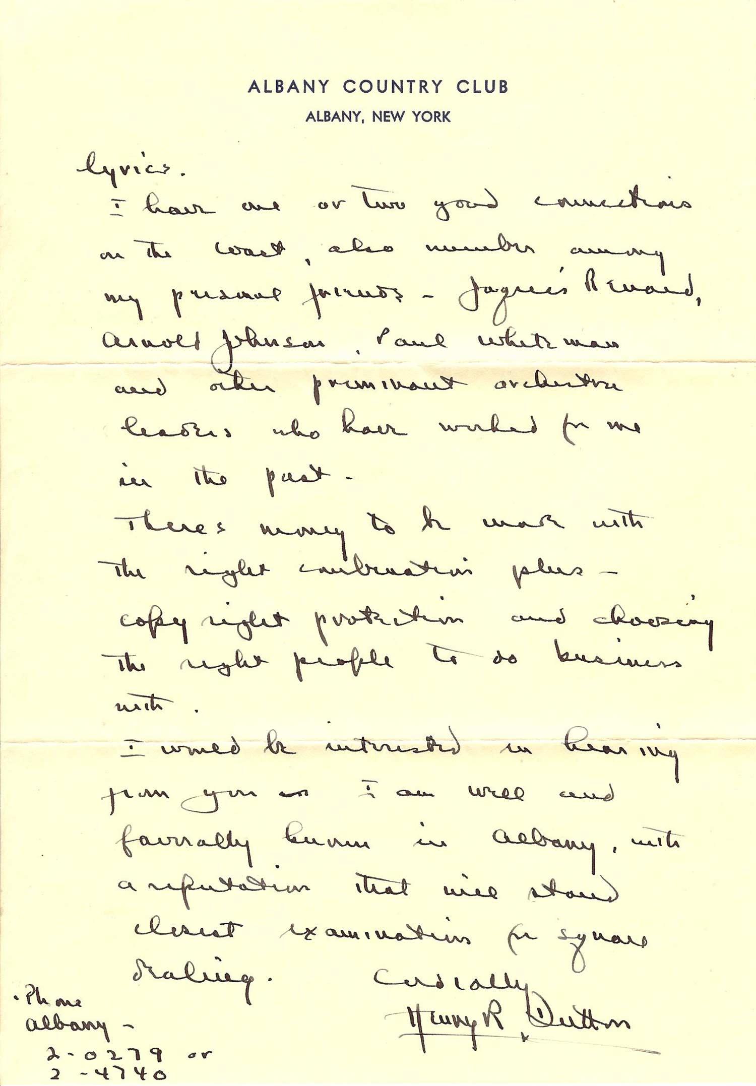 Henry R. Dutton Letter Page 2