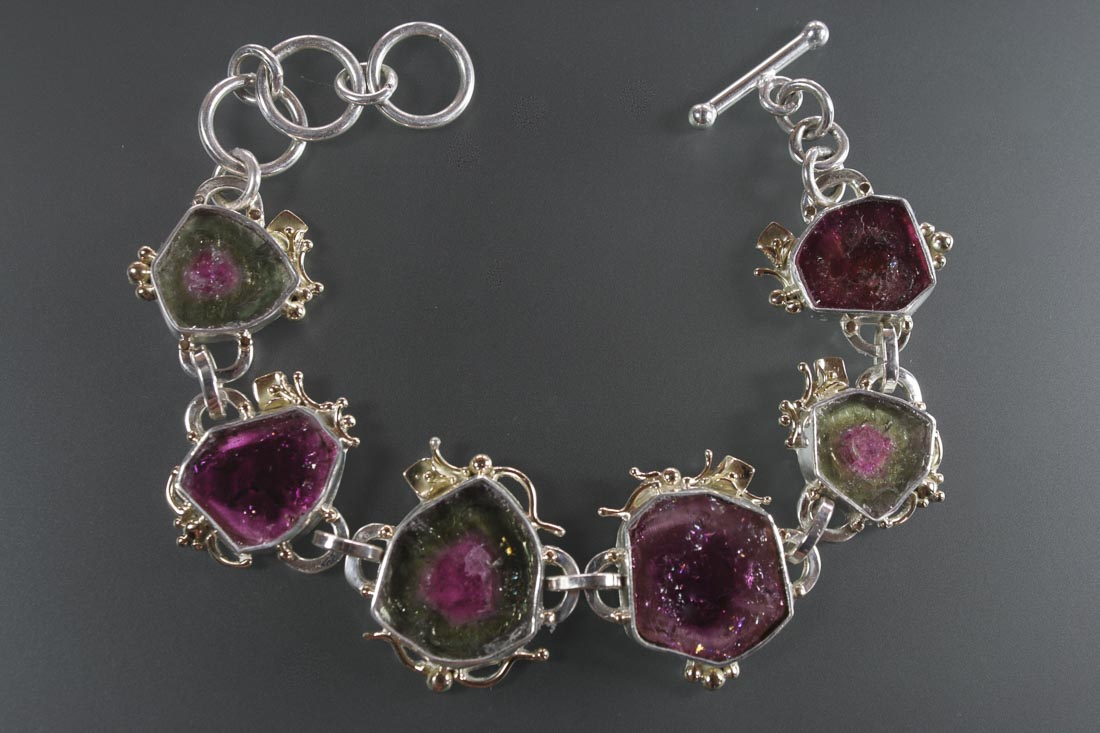 B-9727 Tourmaline  Link Bracelet in Sterling & 14K