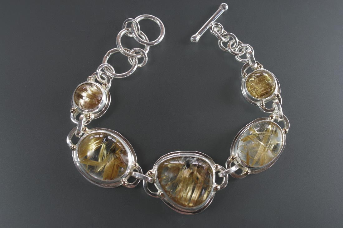 B-9728 Rutilated Quartz Link Bracelet Sterling & 14K