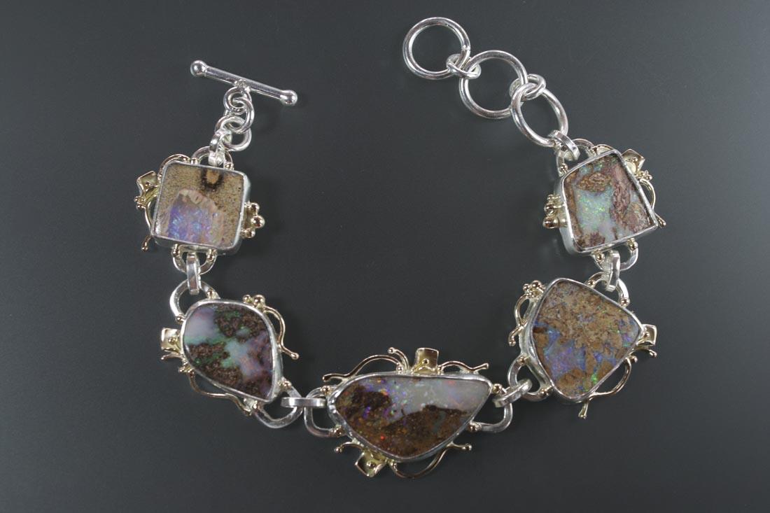 B-9732 Boulder Opal  Link Bracelet in Sterling & 14K