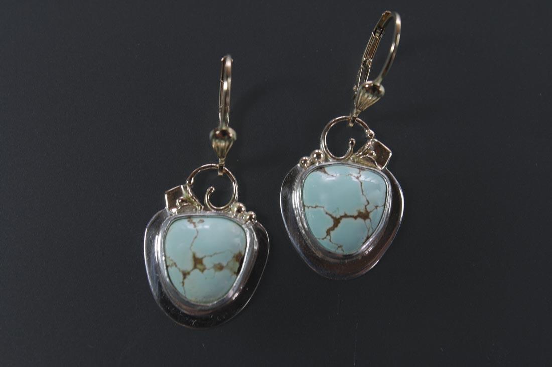 ER-9746 Mine #8 Turquoise in Sterling & 14K