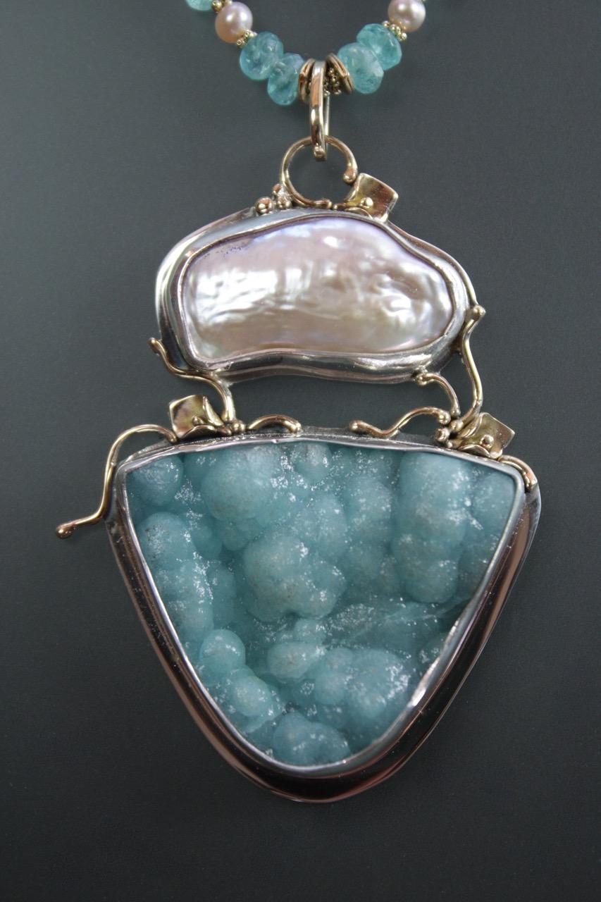 P-8982-Fresh Water Pearl & Hemimorphite