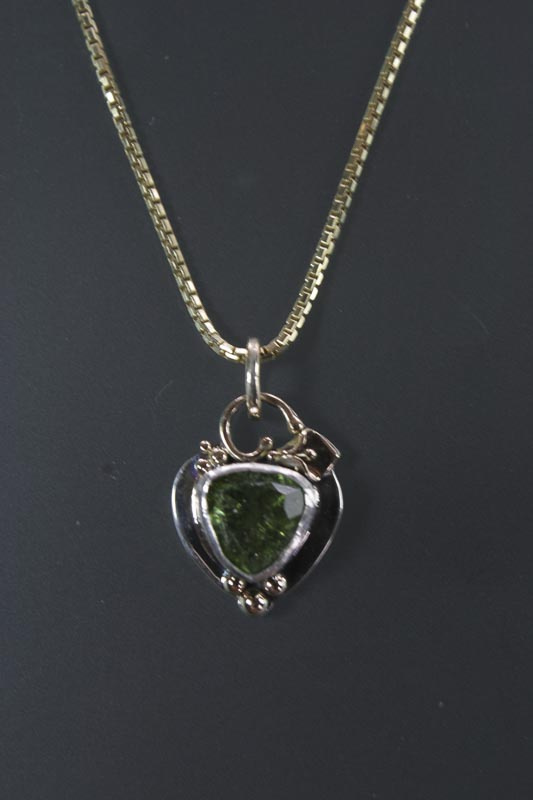 Green Tourmaline in Sterling & 14K
