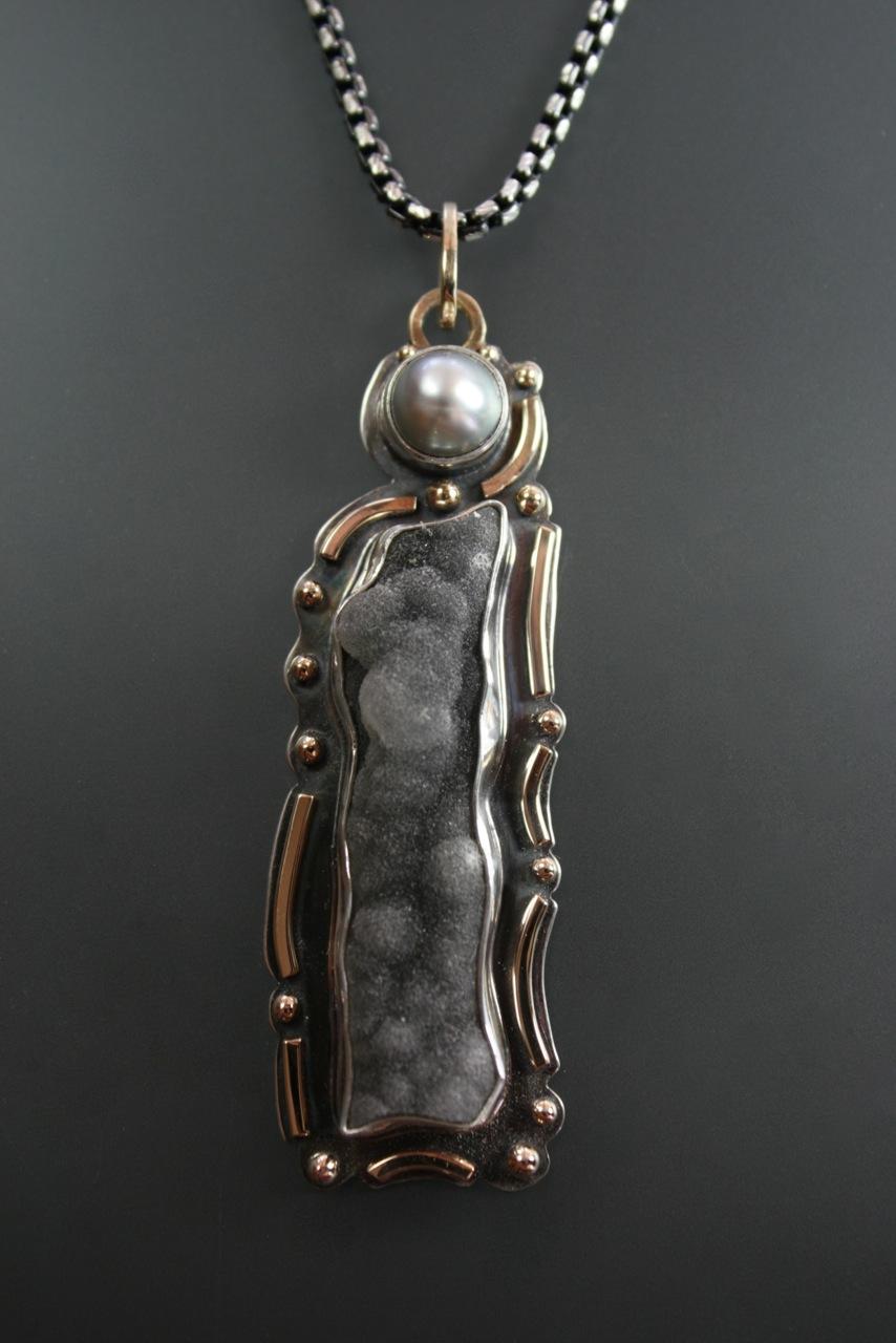 Black Drusy Pendant
