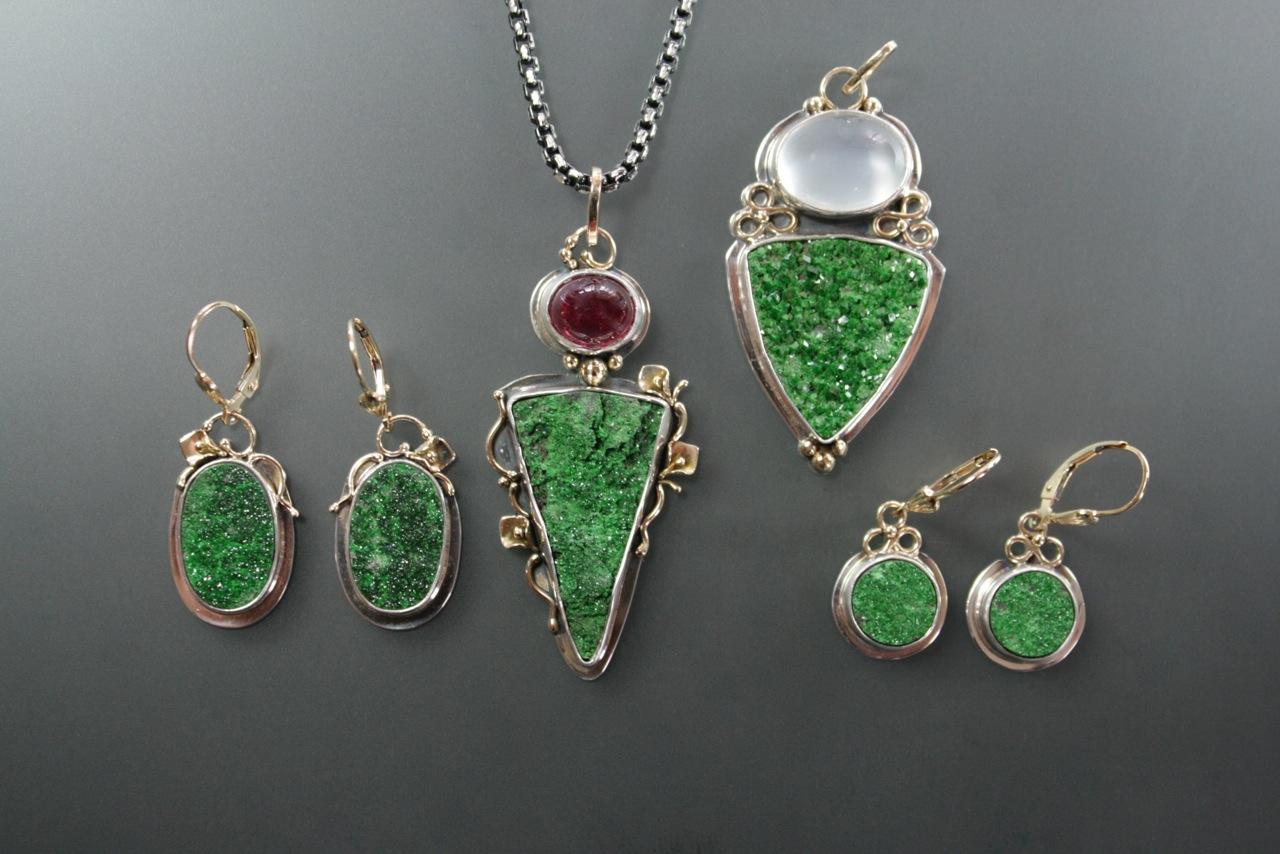 Uvarovite Garnet Drusy Necklace