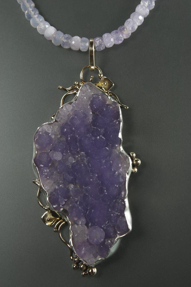 Grape Chalcedony Drusy Pendant