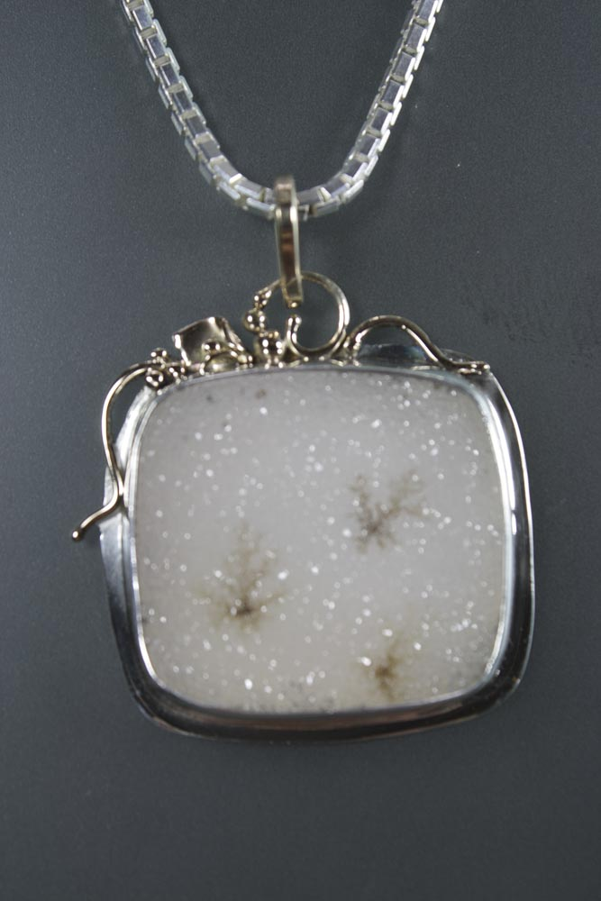 White Drusy Pendant