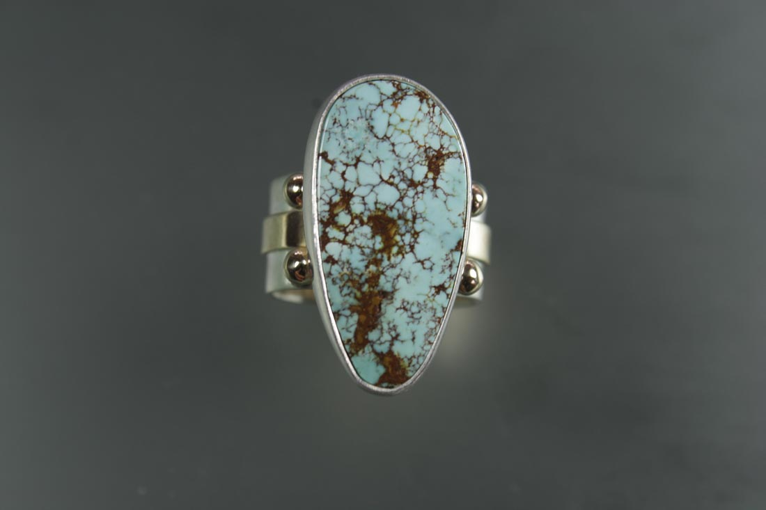 R-9837 Kingman AZ Turquoise in Sterling & 14K