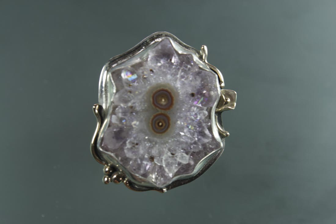 Amethyst Stalactite in Sterling & 14K, Split Shank style  Size 7 to 7.75