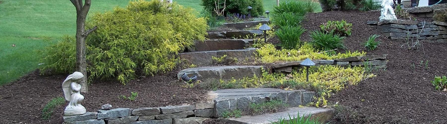 Stone Ledge Steps with Angel